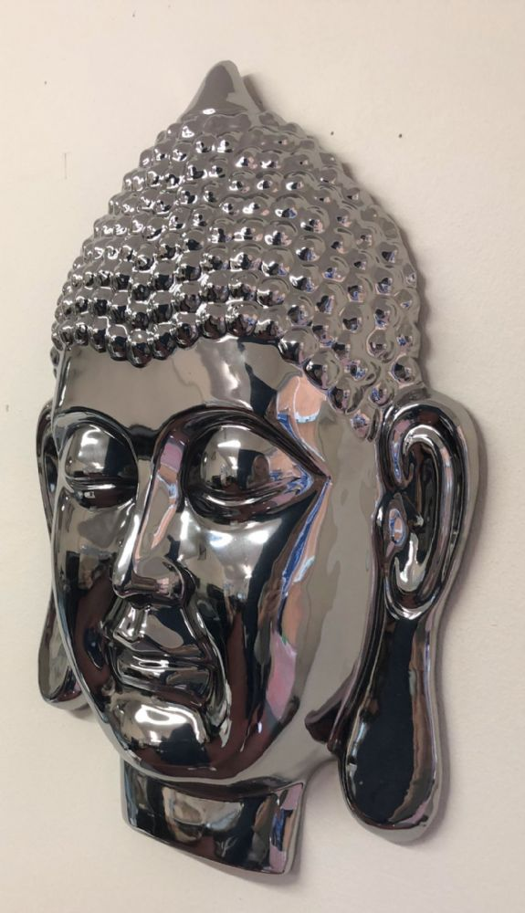 Mirrored 34 cm Thai Buddha Head Home | Garden Wall Art
